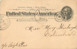 Columbus Ohio~1906 Postal to Mary Harbaugh, Columbus From A. Candle 1894