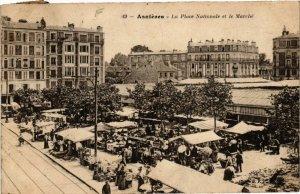 CPA AK ASNIERES - La Place Nationale et le Marché (581935)