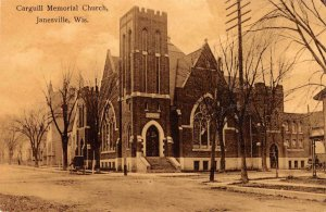 Carguill Memorial Church, Janesville, Wisconsin ca 1910s Vintage Postcard