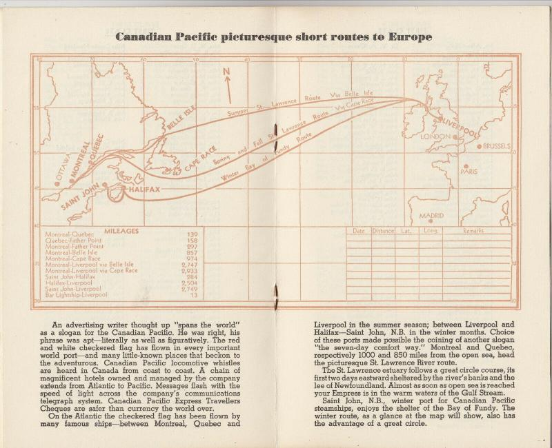 Canadian Pacific, Ocean Liner EMPRESS OF CANADA passenger List, 1949