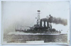 ANTIQUE RPPC REAL PHOTO POSTCARD USS RHODE ISLAND SHIP