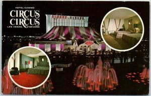 Las Vegas, Nevada Postcard CIRCUS CIRCUS Hotel Casino Night View / Fountain 1975
