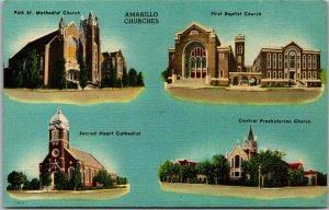 1940s Amarillo, Texas Postcard AMARILLO CHURCHES 4 Building Views BEALS Linen