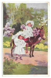 Kind Remembrance Children Lilacs Pretty Girls Mule Donkey