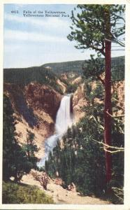The Falls from Lookout Point - Yellowstone National Park WY, Wyoming - Linen