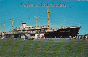 New York Massena German Cargo Ship Christian Russ In Eisenhower Lock 1969