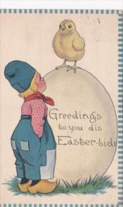 Easter Dutch Boy Watching Chick On Large Easter Egg 1913 Signed Wall