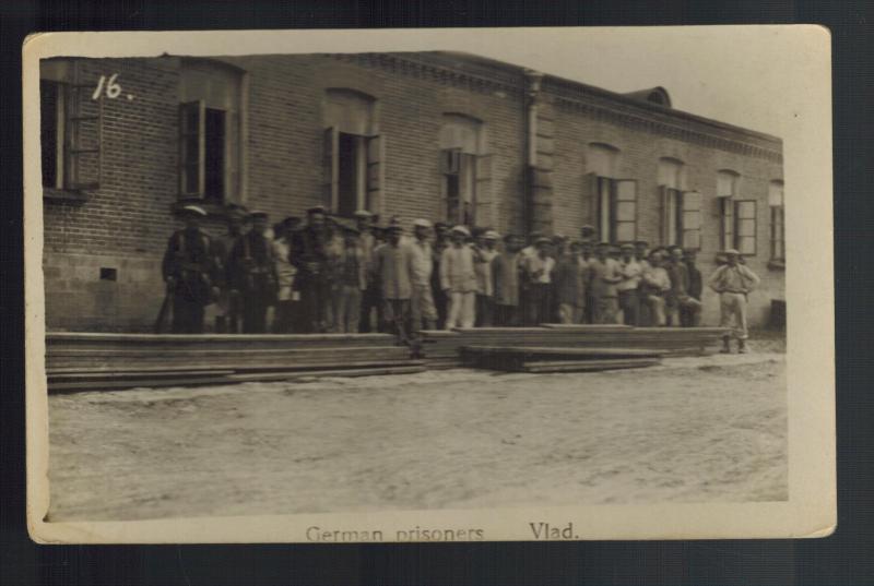 WW1 Mint RPPC Postcard German Prisoners of War in Vladivostock Russia POW