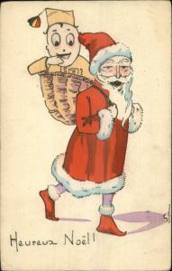 Belgian Christmas - Unusual Santa Claus Soldier in Backpack c1915 Postcard