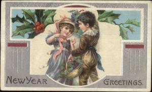 New Year - Fancy Children Basket of Grapes c1910 Postcard