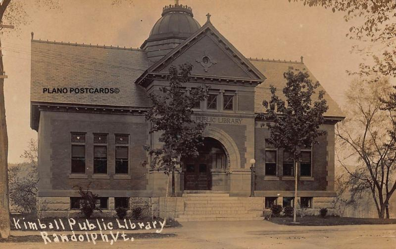 RANDOLPH, VERMONT KIMBALL PUBLIC LIBRARY-1919 RPPC REAL PHOTO POSTCARD