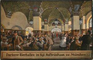 Parterre-Bierhallen im Kgl. Hofbrauhaus zu Munchen Postcard
