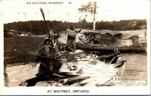 WHITNEY ONTARIO CANADA FISHING EXAGGERATED VINTAGE REAL PHOTO POSTCARD RPPC
