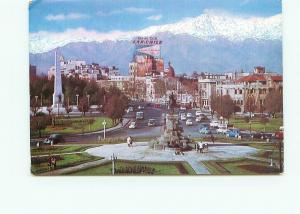 Postcard Plaza baqueda Cordillera de Los Andes Santiago Lan Chile  # 3890A