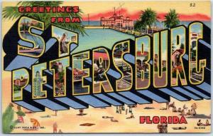 ST. PETERSBURG Florida Large Letter Postcard Bathing Beach Scene Curteich Linen