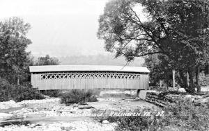 ARLINGTON VERMONT~NEW BRANCH COVERED BRIDGE-REAL PHOTO POSTCARD** 1940-50s