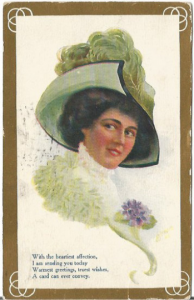 Green Hat with Ostrich Plume Beautiful Victorian Woman Brunette Purple Pansy