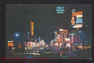 ALBUQUERQUE NEW MEXICO ROUTE 66 DOWNTOWN AT NIGHT NATIONAL BANK POSTCARD