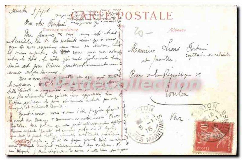 Old Postcard Souvenir De Menton