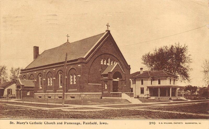 Fairfield Iowa~St Mary's Catholic Church & Parsonage~Houses~CU Williams 1909 PC