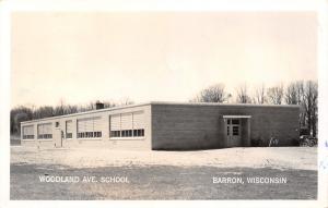 Barron Wisconsin~Woodland Avenue School~Bicycles at Back Door~1952 RPPC
