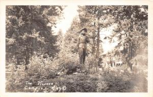 Eugene Oregon~University of Oregon~The Pioneer Statue~1930s RPPC