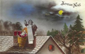 Joyeux Noel Christmas Purple Robed Santa Claus Roof Top Toys Postcard
