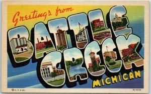 1940s BATTLE CREEK Michigan Large Letter Postcard Curteich Linen 8A-H2194 Unused
