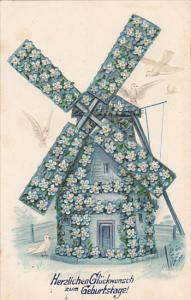 Birthday Geburtstag Windmill With Blue Flowers