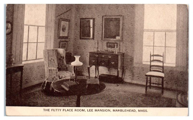 Early 1900s The Fetty Place Room, Lee Mansion, Marblehead, MA Postcard