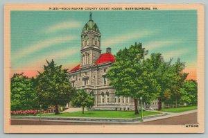 Harrisonburg Virginia~Rockingham County Courthouse~Vintage Postcard