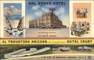 Las Vegas NV Sal Sageu Hotel & Kingman AZ Motel Split-View Linen Postcard