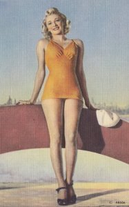 Pin-up girl , Orange bathing suit , 30-40s