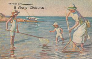 Family Shrimping at the beach , 1900-10s ; L. Tanquerey