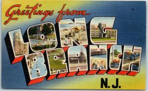 LONG BRANCH New Jersey Large Letter Postcard Colorful Tichnor Linen 1950s Unused