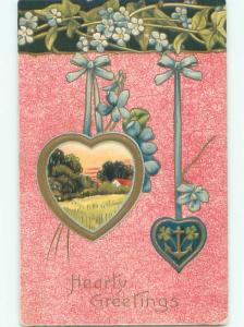 Pre-Linen valentine HEARTS HANGING FROM GREEN RIBBONS WITH FLOWERS J0293