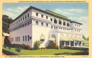 Hot Springs Arkansas 1940s Postcard Maurice Baths & Therapeutic Pool Main