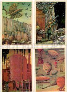 254024 Lubarov Jules Verne SET of 16 russian postcards
