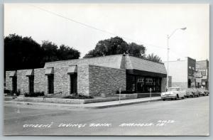 Anamosa Iowa~Citizen's Savings Bank~Wendy's Arrow Cafe~1950-60 Cars~RPPC