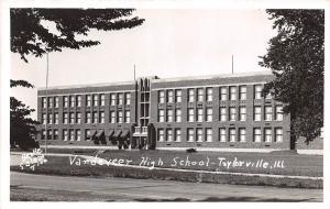 Illinois Il Real Photo RPPC Postcard c1940s TAYLORVILLE Vandeveer High School