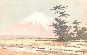 Japan Old Vintage Antique Post Card Mountain View Writing on back