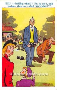 Old Vintage Lawn Bowling Postcard Post Card Holding What, Woods Unused