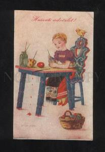 073321 EASTER Girl as Painter of EGGS Vintage Colorful PC