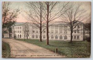 White Sulphur Springs West Virginia~Dirt Road Past Bath House~1923 Handcolored
