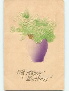 Divided-Back birthday EMBOSSED BEAUTIFUL FLOWERS IN PURPLE VASE o9052