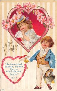 E71/ Valentine's Day Love Postcard c1915 Well-Dressed Kids Fancy 23