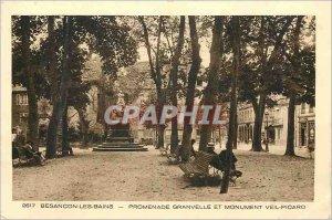 Old Postcard Granvelle Besancon Les Bains Promenade and Monumen Veil Picard