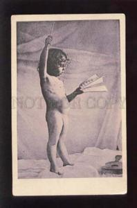 073688 NUDE GIRL as conductor Vintage PHOTO PC