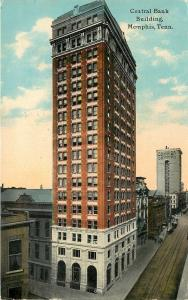Memphis Tennessee~Central Bank Building~Madison Street~1912 Postcard