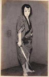 RP: KABUKI ACTOR # 16 , Japan , 1910-30 ; Man with sword